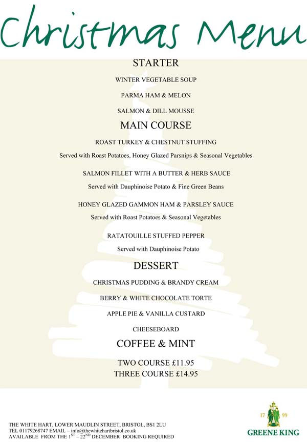 Christmas Menu Bristol